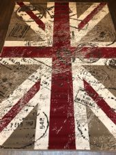 Modern Rugs Approx 8x5ft 160cmx230cm Woven Backed Retro Union Jack Beige/Red